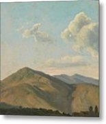 Mountainous Landscape At Vicovaro, Simon Denis Metal Print