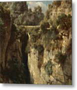Mountainous Landscape With Waterfall Metal Print