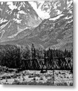 Mountains Alaska Bw Metal Print