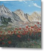 Mountains And Poppies Metal Print