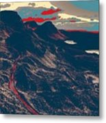 Mountains By Red Road Metal Print