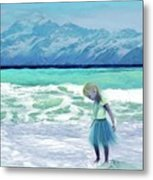 Mountains Ocean With Little Girl  Metal Print