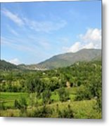 Mountains Sky And Homes In Village Of Swat Valley Khyber Pakhtoonkhwa Pakistan Metal Print