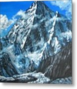Mountains View Landscape Acrylic Painting Metal Print