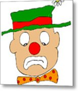 Mournful Clown Metal Print