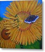 Mourning Cloak's Sunflowers Metal Print