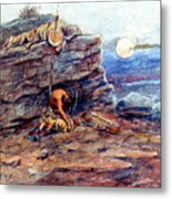 Mourning Her Warrior Dead By Charles Marion Russell Metal Print