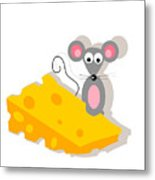 Mouse And Cheese Illustration Metal Print