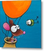 Mouse In His Hot Air Balloon Metal Print