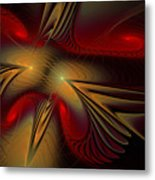 Movement Of Red And Gold Metal Print