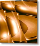 Moveonart Inverted Minimal Wave And Light In Amber Metal Print