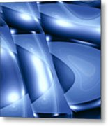 Moveonart Inverted Minimal Wave And Light In Blue Metal Print