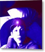 Moveonart Jacob In Blue Light Thinking Metal Print
