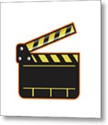 Movie Camera Slate Clapper Board Open Retro Metal Print