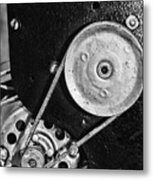 Movie Projector Gears In Black And White Metal Print