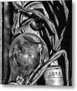 Movie Projector Light In Black And White Metal Print