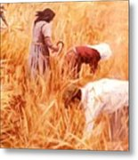 Mowing Harvest Metal Print