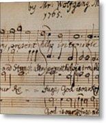 Mozart: Motet Manuscript Metal Print