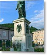 Mozart Statue In Mozartplatz, Salzburg, Austria Metal Print