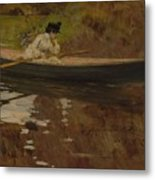 Mrs. Chase In Prospect Park , William Merritt Chase Metal Print
