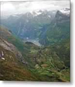 Mt. Dalsnibba And The Serpentine Descent To The Geirangerfjord Metal Print