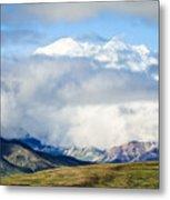 Mt Denali In The Clouds Metal Print
