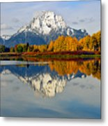 Mt Moran From Ox Bow Bend On A Fall Morning Metal Print