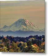 Mt Rainer Fall Color Rising Metal Print
