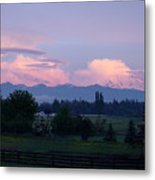 Mt Rainier Blush Metal Print