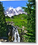 Mt. Rainier From Myrtle Falls Metal Print