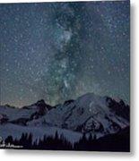 Mt Rainier Milkway Climbers Metal Print