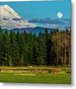 Mt Rainier Moonrise,wa Metal Print