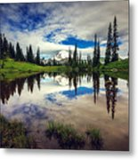 Mt Rainier Reflections Metal Print