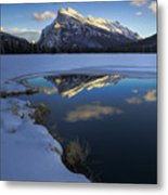 Mt. Rundle Winter Reflection Metal Print