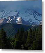 Mt Shasta Under Clouds - Panorama Metal Print