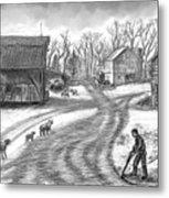 Muddy South Dakota Farmyard Metal Print