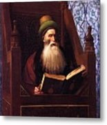 Mufti Reading In His Prayer Stool Metal Print