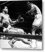 Muhammad Ali Knocked Down By Joe Metal Print by Everett