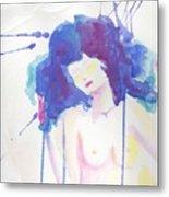 Mujer En Acuarela Metal Print