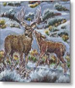 Mule Deer Lovers From River Mural Metal Print