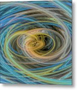 Multi Color Line Art Blue Yellow Gray Green Metal Print