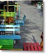 Multi-colored Benches On The Pedestrian Zone Metal Print
