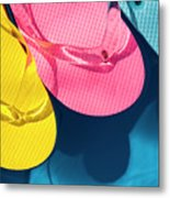 Multicolored Flip Flops Floating In Pool Metal Print