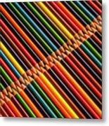 Multicolored Pencils In Rows Metal Print