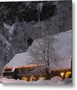 Multnomah Falls Christmas  Metal Print