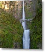 Multnomah Falls In Oregon State. Metal Print