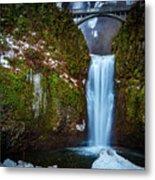 Multnomah Falls With Ice Metal Print