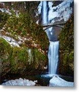 Multnomah Falls With Snow Metal Print