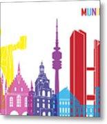 Munich Skyline Pop Metal Print