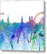 Munich Skyline Silhouette An Impressionistic Splash - Dream Cities Series Metal Print